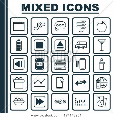 Set Of 25 Universal Editable Icons. Can Be Used For Web, Mobile And App Design. Includes Elements Such As Increasing Line Chart, Present, Mobile Service And More.