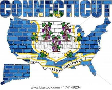 Connecticut on a brick wall - Illustration, Font with the Connecticut flag,  Connecticut map on a brick wall