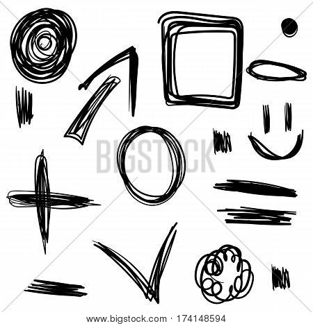 Hand Drawing. Set. Scribble. Black. For Your Design.