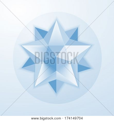 Glass geometric. figure in the shape of a star for graphic design . Figures coupler. Crystal. Hexagonal diamond.