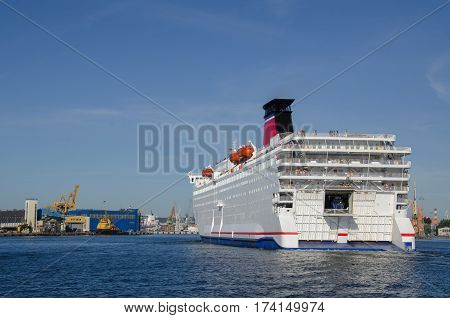 MARITIME TRANSPORT - Passenger/Car ferry entering the port of Gdynia