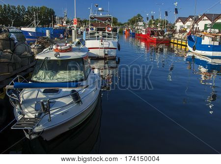 MARINA - Yachts moored to the berths in the marina in Kolobrzeg