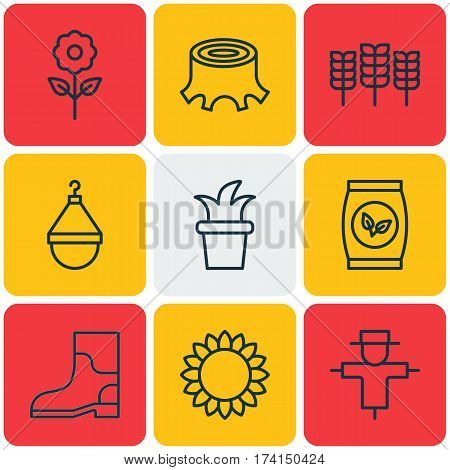 Set Of 9 Garden Icons. Includes Rubber Boot, Decorative Plant, Helianthus And Other Symbols. Beautiful Design Elements.