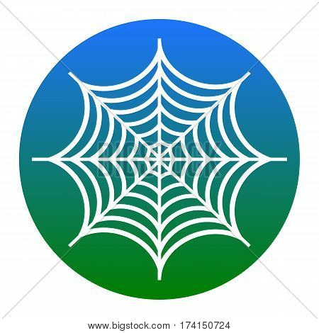 Spider on web illustration. Vector. White icon in bluish circle on white background. Isolated.