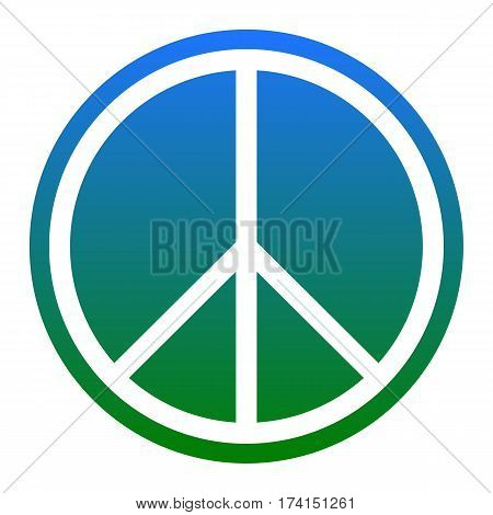 Peace sign illustration. Vector. White icon in bluish circle on white background. Isolated.