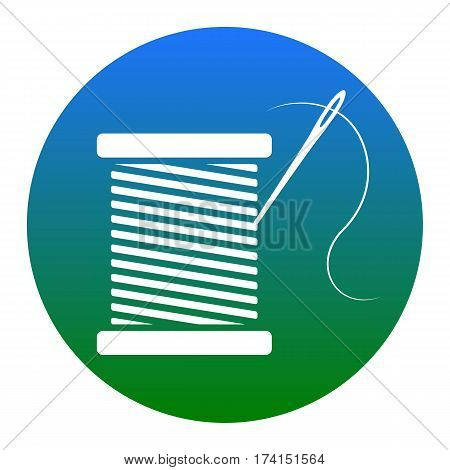 Thread with needle sign illustration. Vector. White icon in bluish circle on white background. Isolated.
