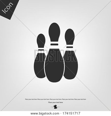 Bowling pin icon, gray background. Vector illustration.