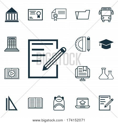 Set Of 16 Education Icons. Includes Measurement, Haversack, Certificate And Other Symbols. Beautiful Design Elements.