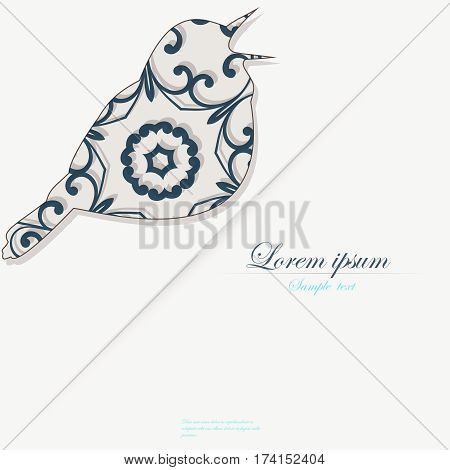 Template of brochure with stylized decorative ornamental twitter bird