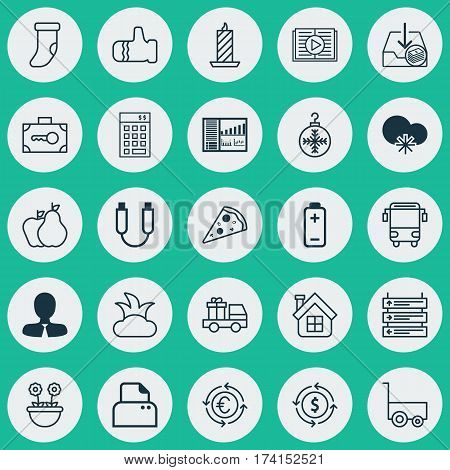 Set Of 25 Universal Editable Icons. Can Be Used For Web, Mobile And App Design. Includes Elements Such As Mitten, Plane Schedule, Controlling Board And More.
