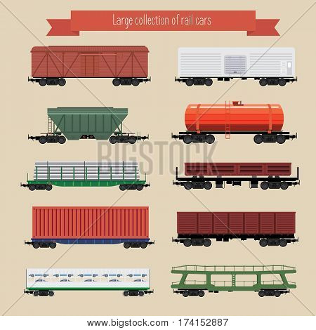 large collection of rail freight wagons. Ten different types of cars include freight cars, dump-car, open wagon, road cars, refrigerators, hopper, tank and other