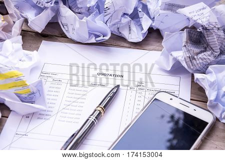 Finacial document purchasing contract sign concept background
