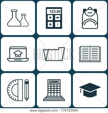 Set Of 9 Education Icons. Includes Graduation, Electronic Tool, Document Case And Other Symbols. Beautiful Design Elements.