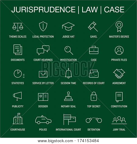 Jurisprudence. Law. Case. Icons set. Thin lines. White on green.