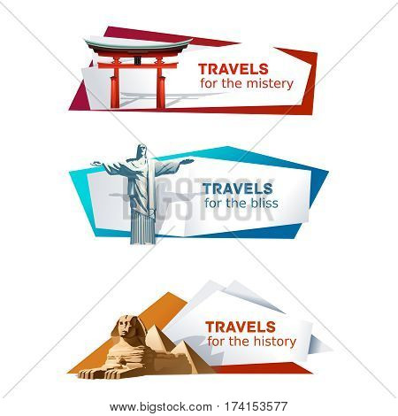 Set of vector banners on the theme of travel with Japanese torii, Brazil Christ the Redeemer statue and the Egyptian pyramids