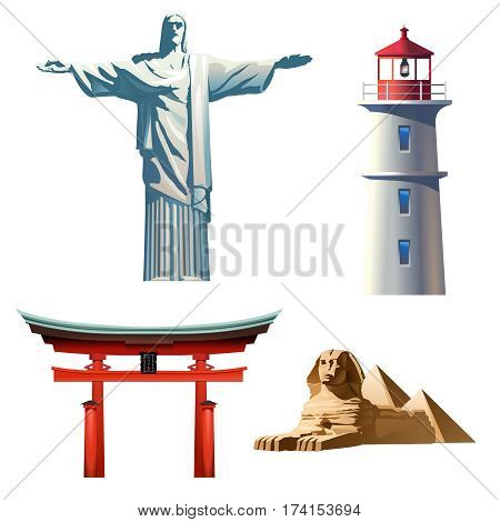 Set of vector icons on the theme of travel - lighthouse, Japanese torii, Brazil Christ the Redeemer statue and the Egyptian pyramids