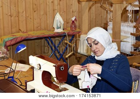 Mellansel,Sweden - February 02,2017:Refugee women working with handwork as a part of integration to the Swedish society.