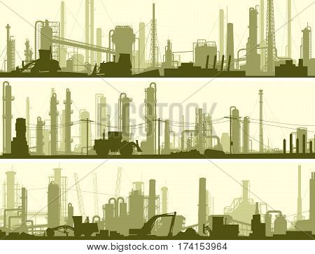 Set of horizontal banners industrial area of city with factories refineries and power plants.