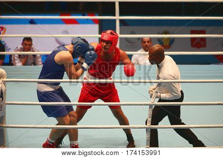St. Petersburg Russia November 23 2016 Youth World Boxing Championship men ring boxing match fist punch boxing knockout judge