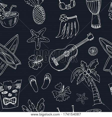 Hawaii seamless pattern, including Hula skirt, tiki gods, totem pole, drums, guitar and palm Vector illustration