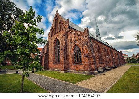 Old Gothic church in Horsens Denmark in summer day