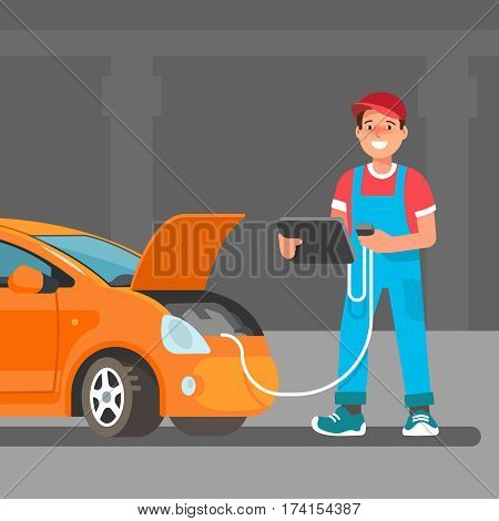 The young male mechanic does computer diagnostics laptop of the car in the service center the garage. Vector illustration in flat style. Concept design work of the repair shop