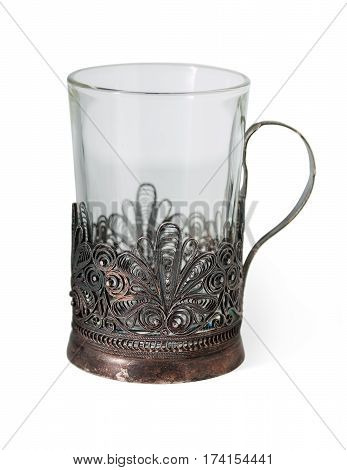Vintage Silverware, Very Old Rich Decorated Russian Style Metal Glass Holder With Empty Glass, Isola