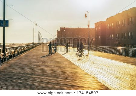 NEW YORK CITY, USA - AUGUST 14, 2016: Buildings and street life on the Brighton Beach  known for its high population of Russian-speaking immigrants, and as a summer destination for New York residents