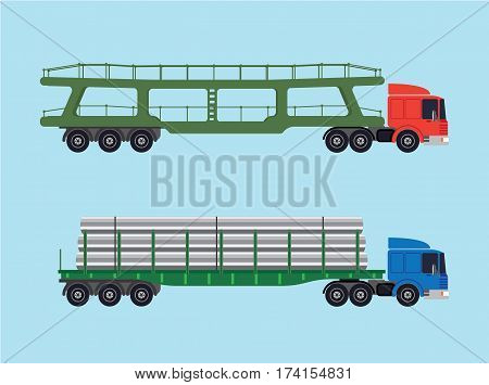 Long-size trucks. Two trucks with various trailers. One for transportation vehicles and one for long goods, pipes, beams, slabs.