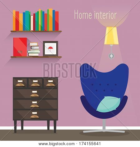 The flat illustration interior. Depicted room with a chair, a lamp, a pillow, a rack, shelf, book, chest of drawers.