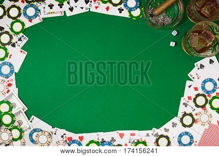 View from above with copy space. Banner template layout mockup for online casino. Green table, top view on workplace. banner for online casinos and gambling