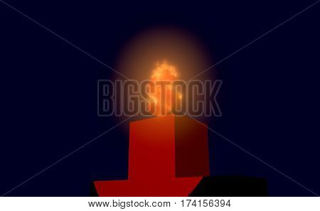 A dollar sign in fire on the podium