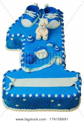 Cake Celebrating Child's First Birthday in the form of one