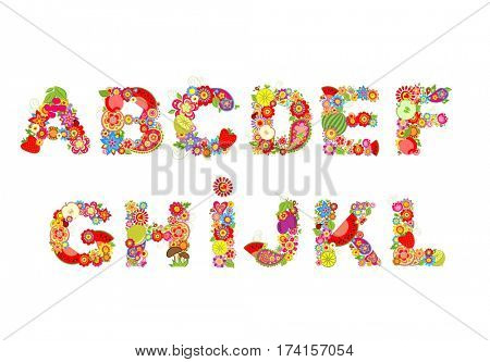 Childish funny vector flowers font with fruits. Summery alphabet, part 1