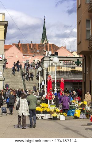 ZAGREB CROATIA - FEBRUARY 28 2017: Splavnica famous flower market placed in between Ban Jelacic Square and Dolac market.