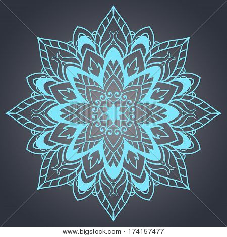 Flower Mandala. Ethnic pattern. Round Mandala of lines. Vector illustration. Linear ornament template