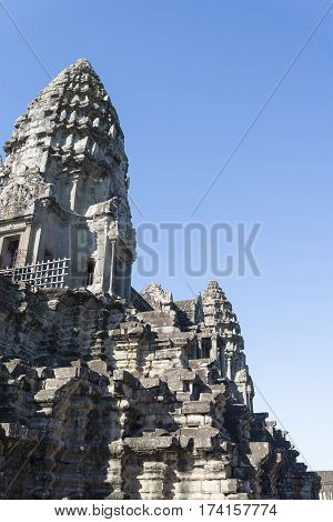 The ruins of Angkor Wat in the summer.