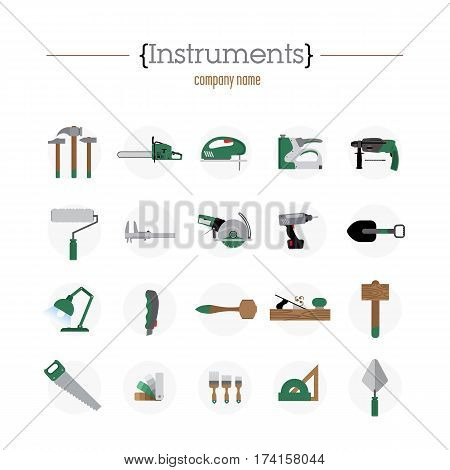 Twenty different icons. Contain a hammer, a saw, a hammer, a spade. The instruments are arranged on a light-gray circles.
