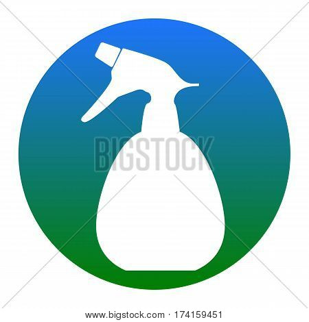Spray bottle for cleaning sign. Vector. White icon in bluish circle on white background. Isolated.
