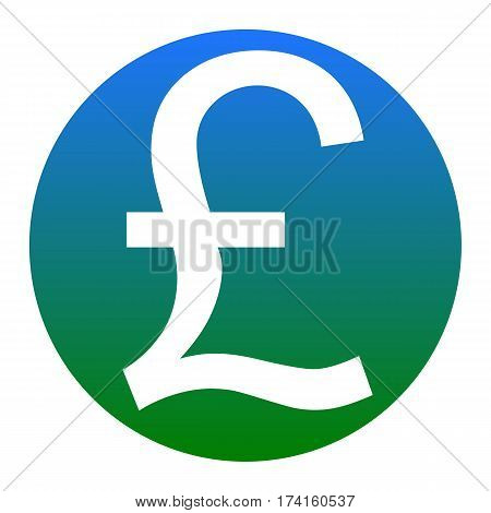 Turkish lira sign. Vector. White icon in bluish circle on white background. Isolated.