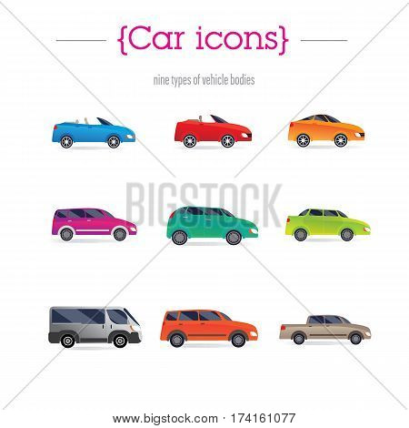 set of car bodies. Includes convertible, sedan, minivan, station wagon, and others. performed flat. Background green.
