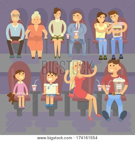 Happy people concept. Movie, popcorn, Family, lovers, child with granddad. Rest in the cinema Flat style cartoon vector illustration with isolated characters for poster or banner template.