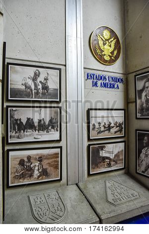 Santo Domingo, Dominican Republic - January 30, 2016: Usa Stand. Museum Inside The Lighthouse Of Chr