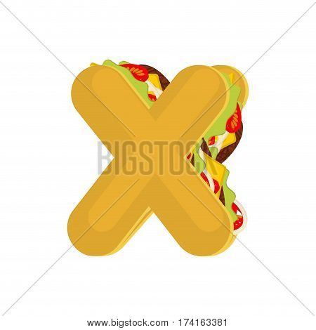 Letter X Tacos. Mexican Fast Food Font. Taco Alphabet Symbol. Mexico Meal Abc