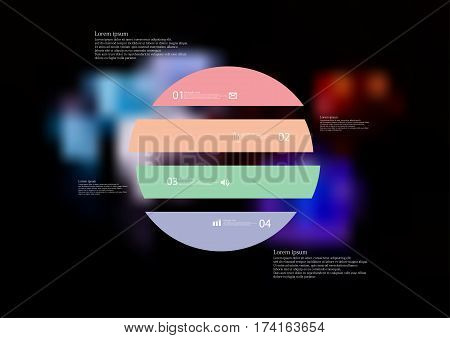 Illustration infographic template with motif of circle horizontally divided to four color standalone sections. Blurred photo with colorful game dices motif on black board is used as background.