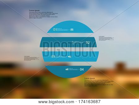 Illustration infographic template with motif of circle horizontally divided to four blue standalone sections. Blurred photo with natural motif landscape with cloudy sky is used as background.