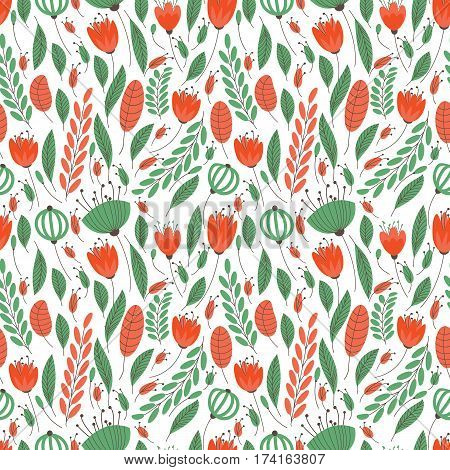 The pattern of small flowers. Pastel pattern of several types of small flowers. It contains poppy, spike, grains, seeds, leaves and flowers. Light option.