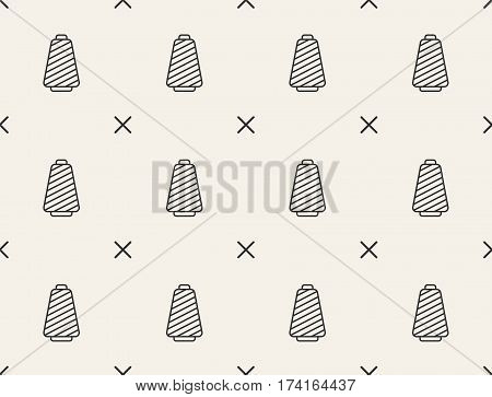 Spools with thread seamless pattern, vector background