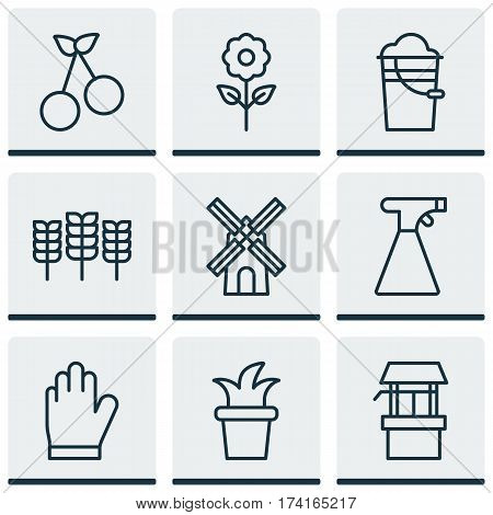 Set Of 9 Farm Icons. Includes Protection Mitt, Bush Pot, Bucket And Other Symbols. Beautiful Design Elements.