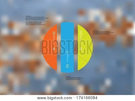 Illustration infographic template with motif of circle vertically divided to three color standalone sections. Blurred photo with texture motif of worn wooden board is used as background.